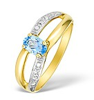 9K GOLD DIAMOND AND BLUE TOPAZ DESIGN RING - E4088
