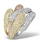 9K GOLD 3 TONE DIAMOND RING 1.63CT