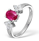 9K WHITE GOLD DIAMOND AND RUBY RING 0.30CT