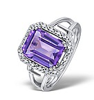 AMETHYST 2.81CT AND DIAMOND 9K WHITE GOLD RING