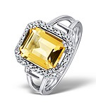 CITRINE 2.89CT AND DIAMOND 9K WHITE GOLD RING