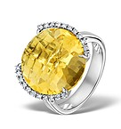 CITRINE 2.56CT AND DIAMOND 9K WHITE GOLD RING