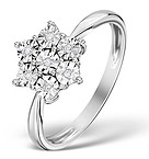 DIAMOND 0.04CT 9K WHITE GOLD LARGE CLUSTER RING