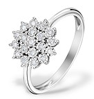 DIAMOND 0.10CT 9K WHITE GOLD CLUSTER RING