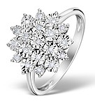 DIAMOND 0.10CT 9K WHITE GOLD LARGE CLUSTER RING