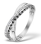 DIAMOND AND BLACK DIAMOND CROSSOVER 0.09CT 9K WHITE GOLD RING