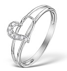 DIAMOND 0.04CT 9K WHITE GOLD HEART RING