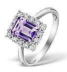 AMETHYST 8 X 6MM AND DIAMOND 9K WHITE GOLD RING