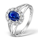 Sapphire 7 x 5mm and Diamond 9K White Gold Ring