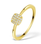 0.22CT DIAMOND AND 9K GOLD DAISY RING -  E5816