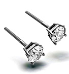 5.1mm 18K White Gold Diamond Stud Earrings - 1CT - Premium