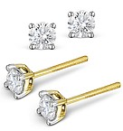 4.1mm 18K Gold Diamond Stud Earrings - 0.50CT - Premium