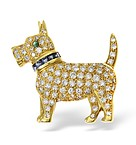 18K Gold Diamond Sapphire and Emerald Dog Brooch