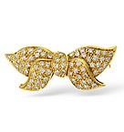 18K Gold Diamond Pave Bow Brooch
