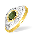 9K GOLD DIAMOND AND GREEN TOURMALINE PAVE RING 0.05CT