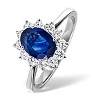 PRINCESS 18K WHITE GOLD 0.50CT DIAMOND AND 1.55CT SAPPHIRE RING