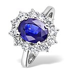 Tanzanite 9 x 7mm And 1.00ct Diamond 18K White Gold Ring