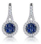 0.75ct Sapphire and Diamond Halo Asteria Earrings 18KW Gold