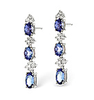 TANZANITE 1.17CT AND DIAMOND 9K WHITE GOLD EARRINGS