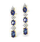 TANZANITE 1.17CT AND DIAMOND 9K YELLOW GOLD EARRINGS