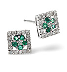Emerald 7 x 7mm And Diamond 9K White Gold Earrings