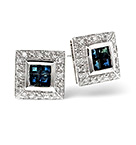 Sapphire 0.98CT And Diamond 9K White Gold Earrings