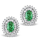 9K White Gold Diamond and Emerald Earrings 0.51ct