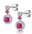 Stellato Collection Ruby and Diamond Earrings 0.16ct in 9K White Gold