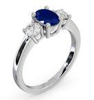 Sapphire 0.80ct And Diamond 0.50ct Platinum Ring