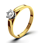 Certified 0.25CT Chloe Low 18K Gold Engagement Ring H/SI2