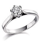 Certified 0.50CT Chloe Low 18K White Gold Engagement Ring H/SI2