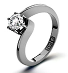 Certified 0.70CT Leah 18K White Gold Engagement Ring G/VS2