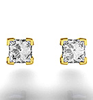 18K Gold Princess Diamond Earrings - 0.66CT - G/VS - 3.8mm