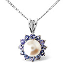 Tanzanite And Pearl 9K White Gold Pendant