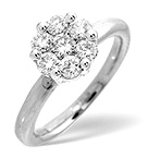 9K WHITE GOLD DIAMOND CLUSTER RING 0.27CT