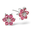Pink Sapphire 0.78CT And Diamond 9K White Gold Earrings