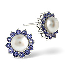 Tanzanite And Pearl 9K White Gold Earrings
