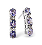 TANZANITE 1.02CT AND DIAMOND 9K WHITE GOLD EARRINGS