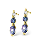TANZANITE 0.42CT AND DIAMOND 9K YELLOW GOLD EARRINGS