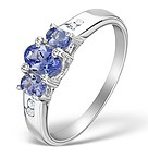 DIAMOND  AND 0.82 CARATS  AA TANZANITE 925 STERLING SILVER RING