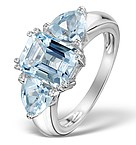 4.95 Carats Blue Topaz and 925 Sterling Silver Ring
