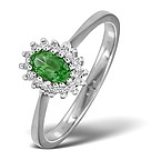 EMERALD 5 X 3MM AND DIAMOND 9K WHITE GOLD RING
