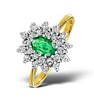 EMERALD 6 X 4MM AND DIAMOND 9K GOLD RING