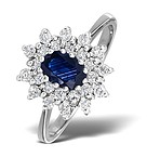 9K WHITE GOLD DIAMOND AND SAPPHIRE RING 0.36CT