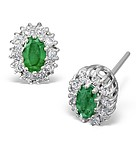 EMERALD 5 X 3MM AND DIAMOND 9K WHITE GOLD EARRINGS
