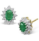 9K Gold Diamond and 6 x 4mm Emerald Earrings 0.07ct