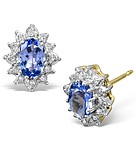 TANZANITE 6 X 4MM AND DIAMOND 9K YELLOW GOLD EARRINGS