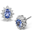 TANZANITE 6 X 4MM AND DIAMOND 18K WHITE GOLD EARRINGS