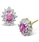 Pink Sapphire 6 x 4mm And Diamond 18K Yellow Gold Earrings