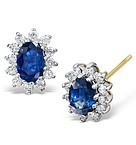 Sapphire 7mm x 5mm And Diamond 9K Yellow Gold Earrings